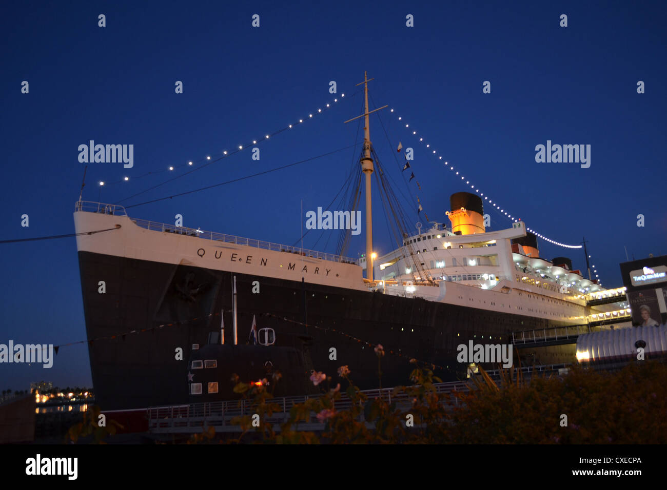 RMS Queen Mary at Long Beach, California - Stock Image