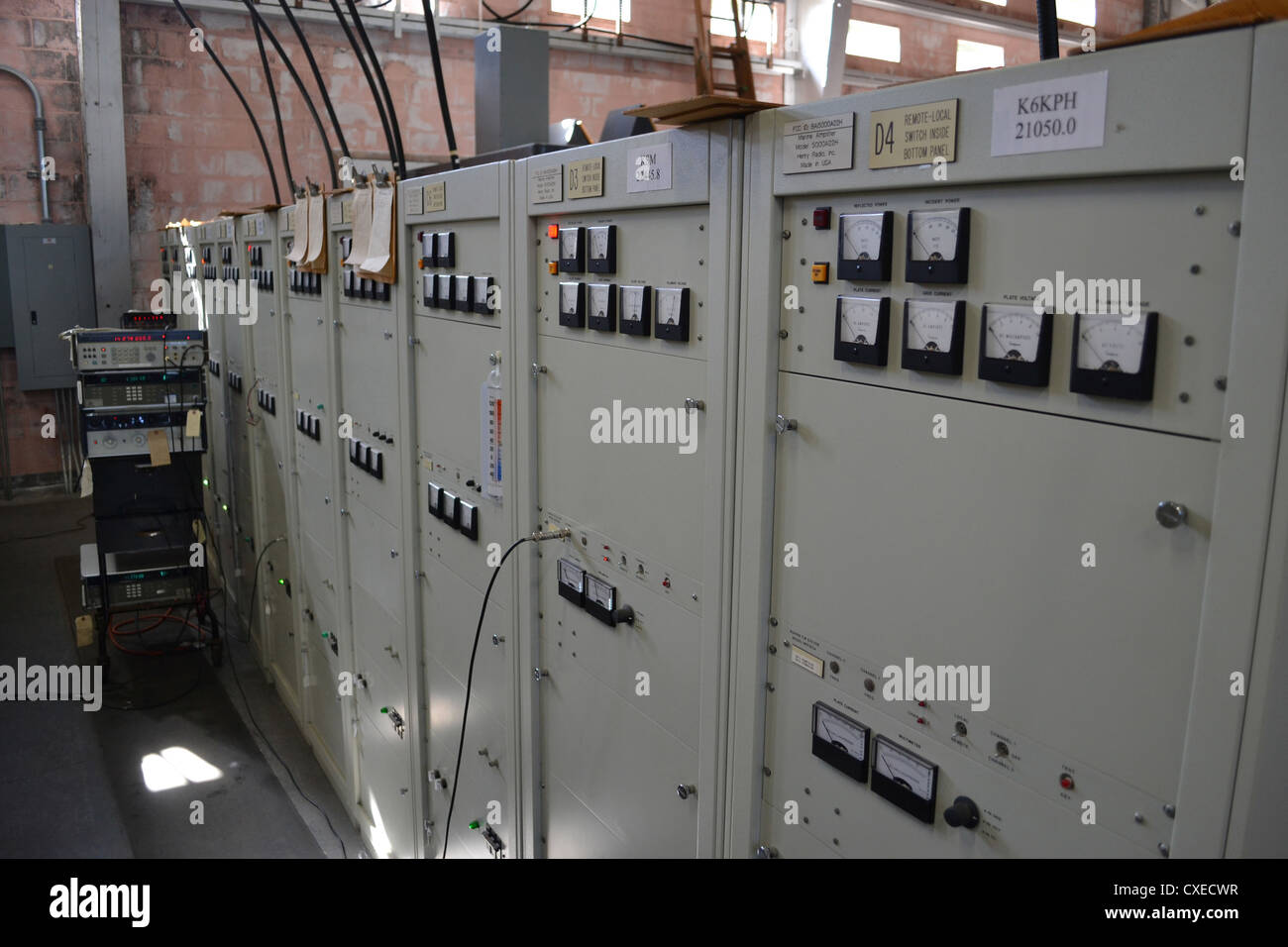 Transmitters at the old RCA radio station at Bolinas. This was used for ship to shore and point to point radio until - Stock Image