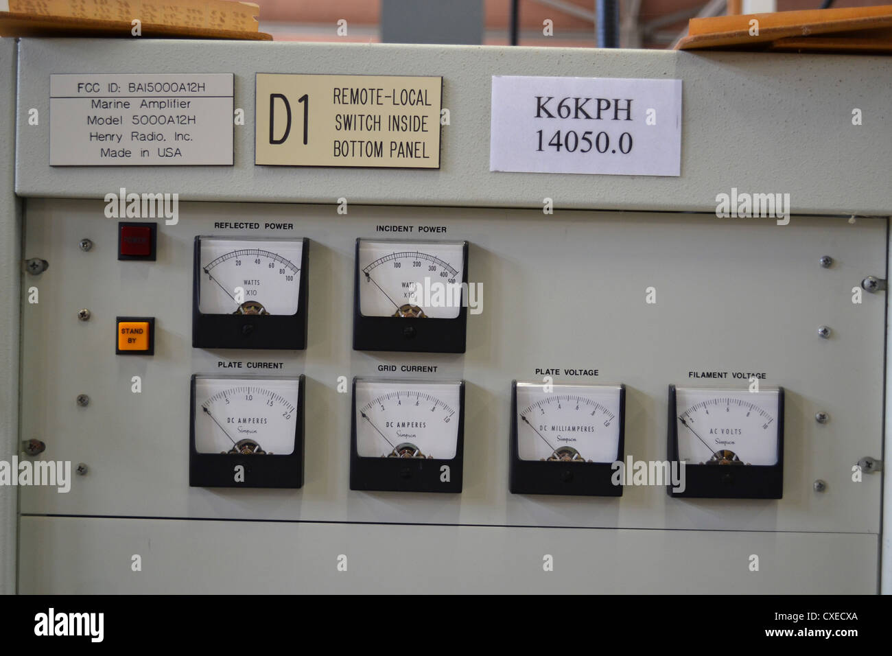 Power meters for a Henry radio transmitter at Bolinas radio, California, This is home to the KSM and K6KPH maritime - Stock Image