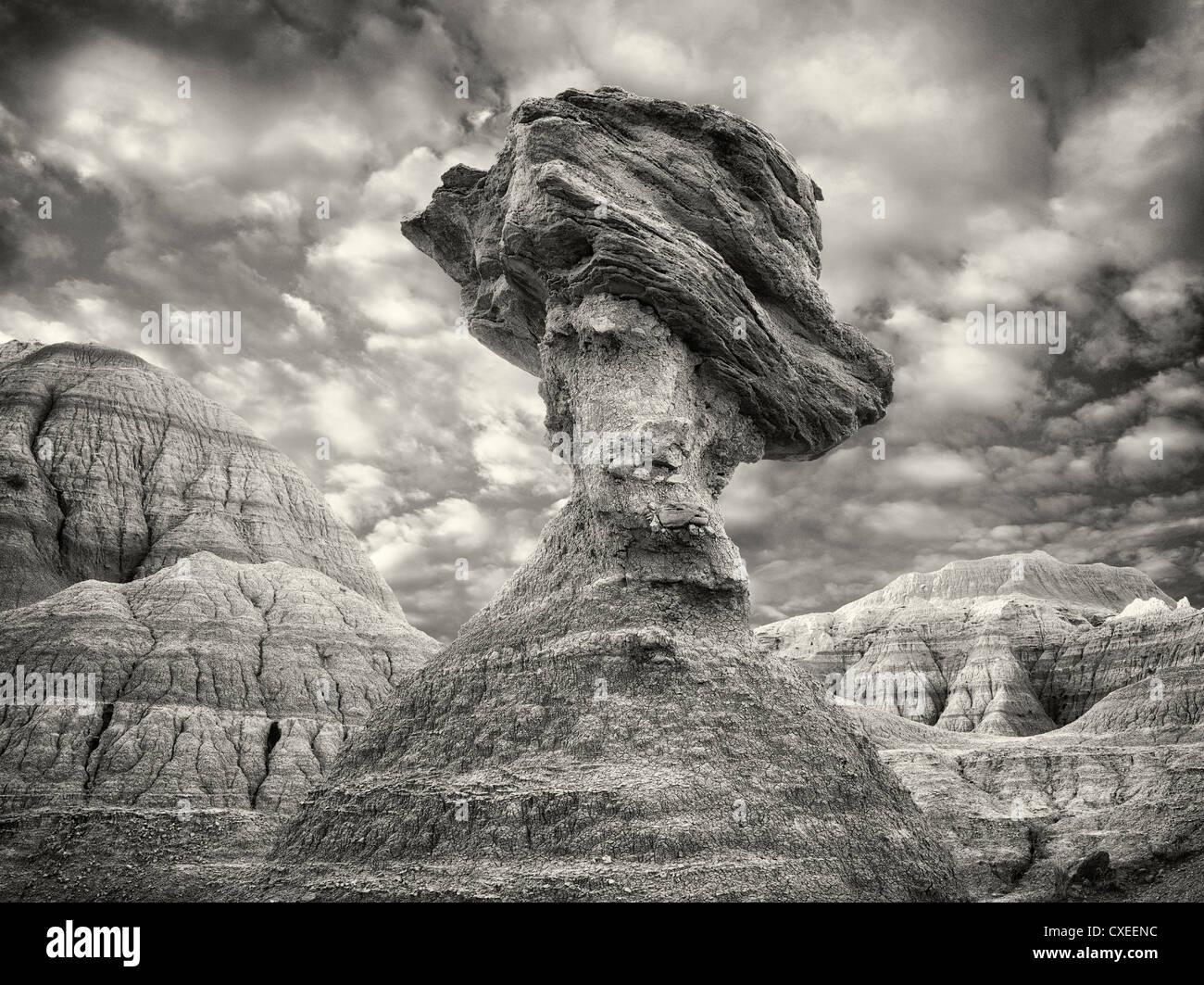 Balancing rock. Badlands National Park. South Dakota - Stock Image