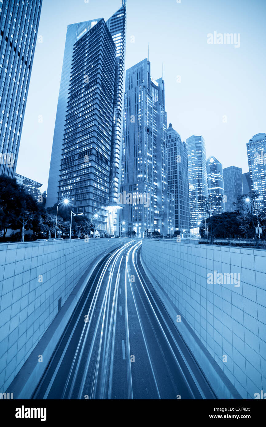 tunnel and modern building in shanghai - Stock Image