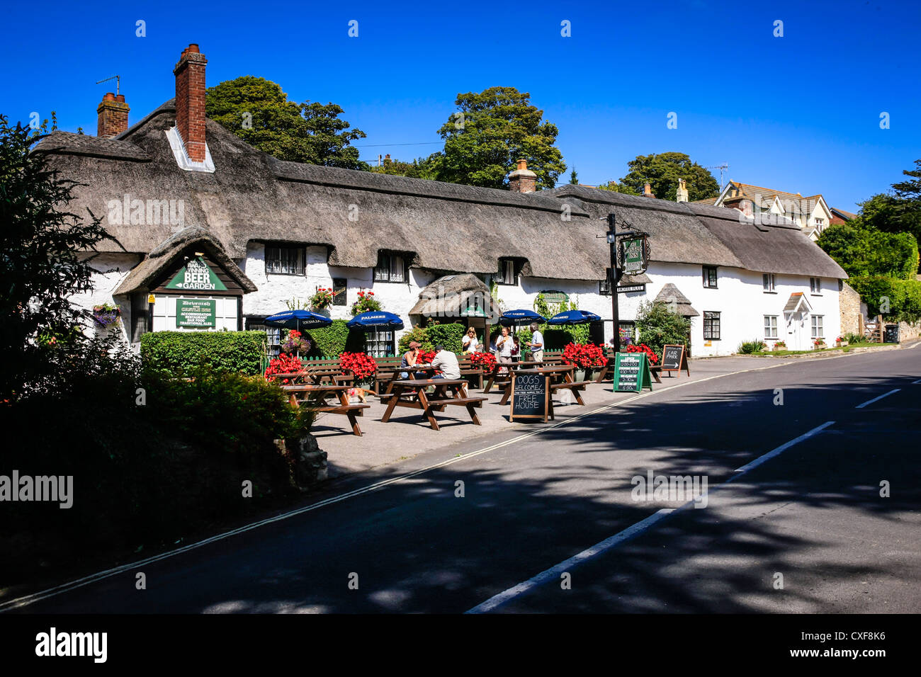The Thatched roof Castle Inn pub at Lulworth Dorset Stock Photo
