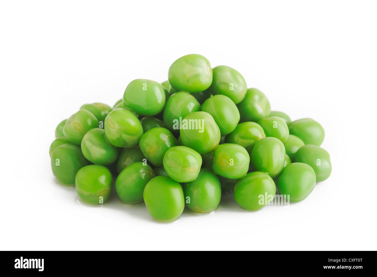 cooked green peas on white Stock Photo