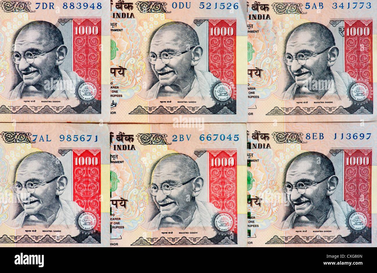 Indian thousand rupee notes - Stock Image