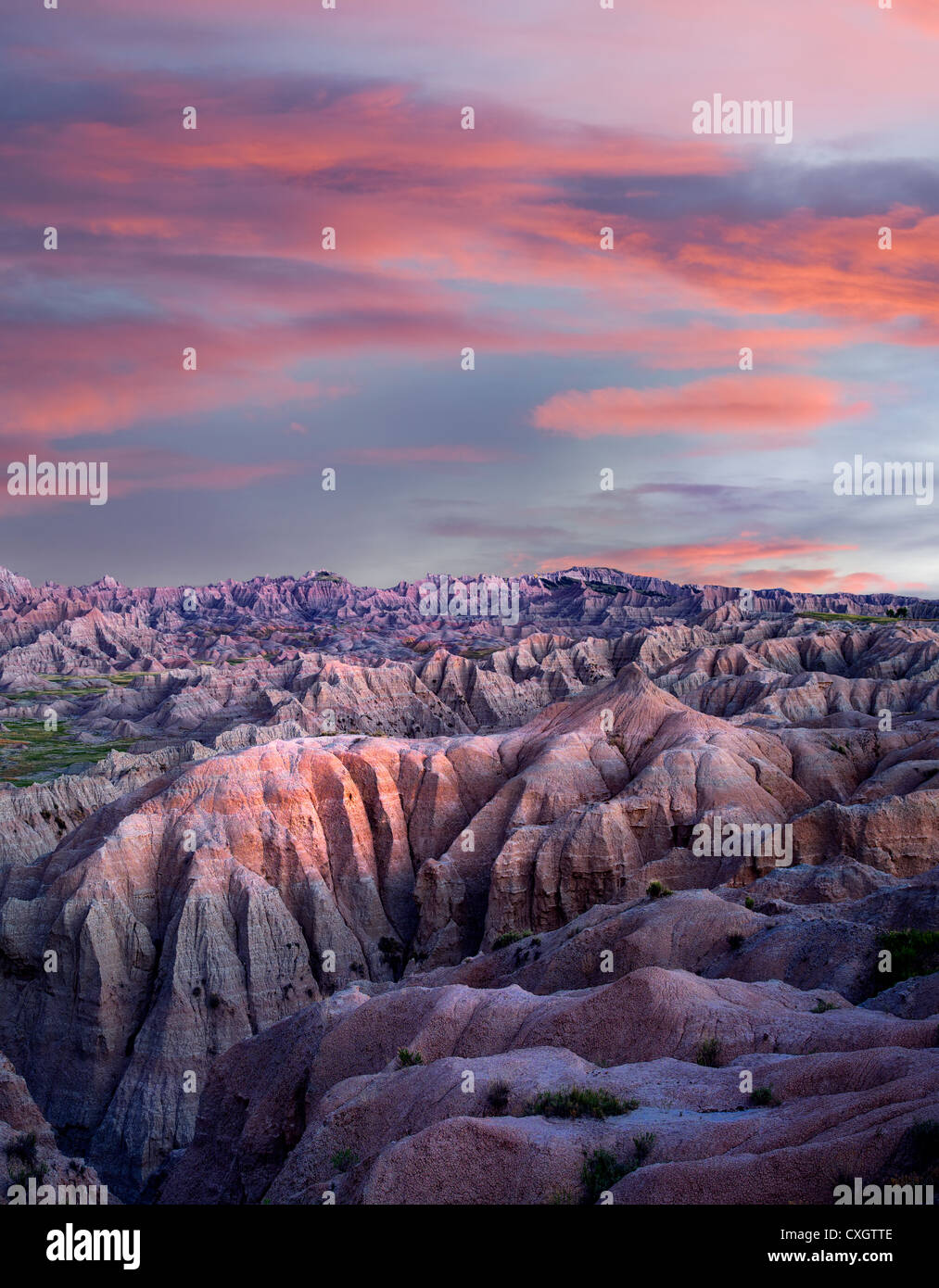 Colorful formations in Badlands National Park, South Dakota - Stock Image