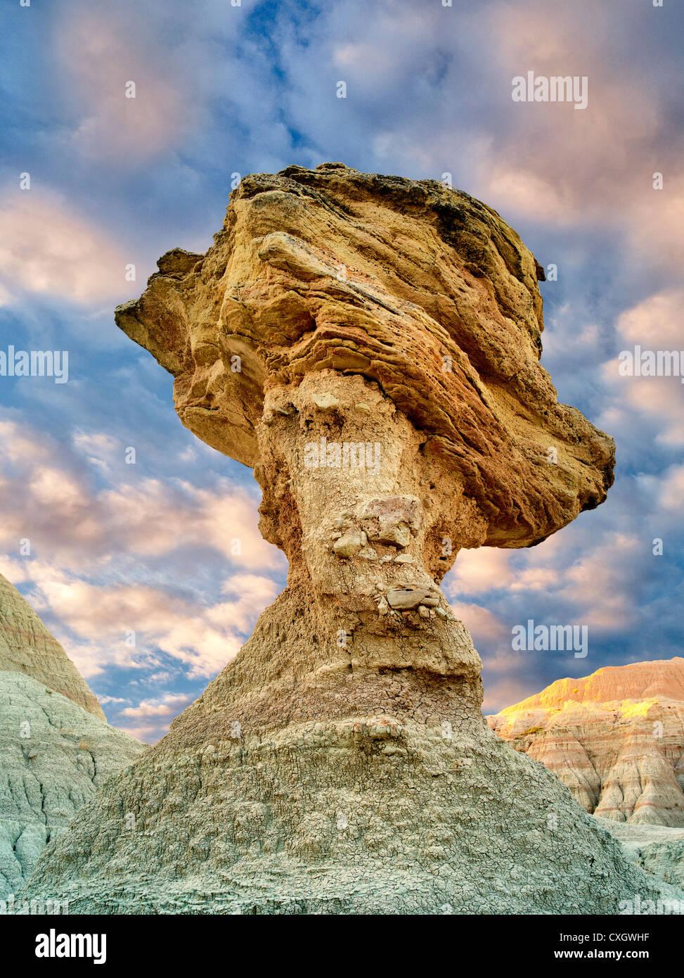 balancing rock badlands national park south dakota stock photo