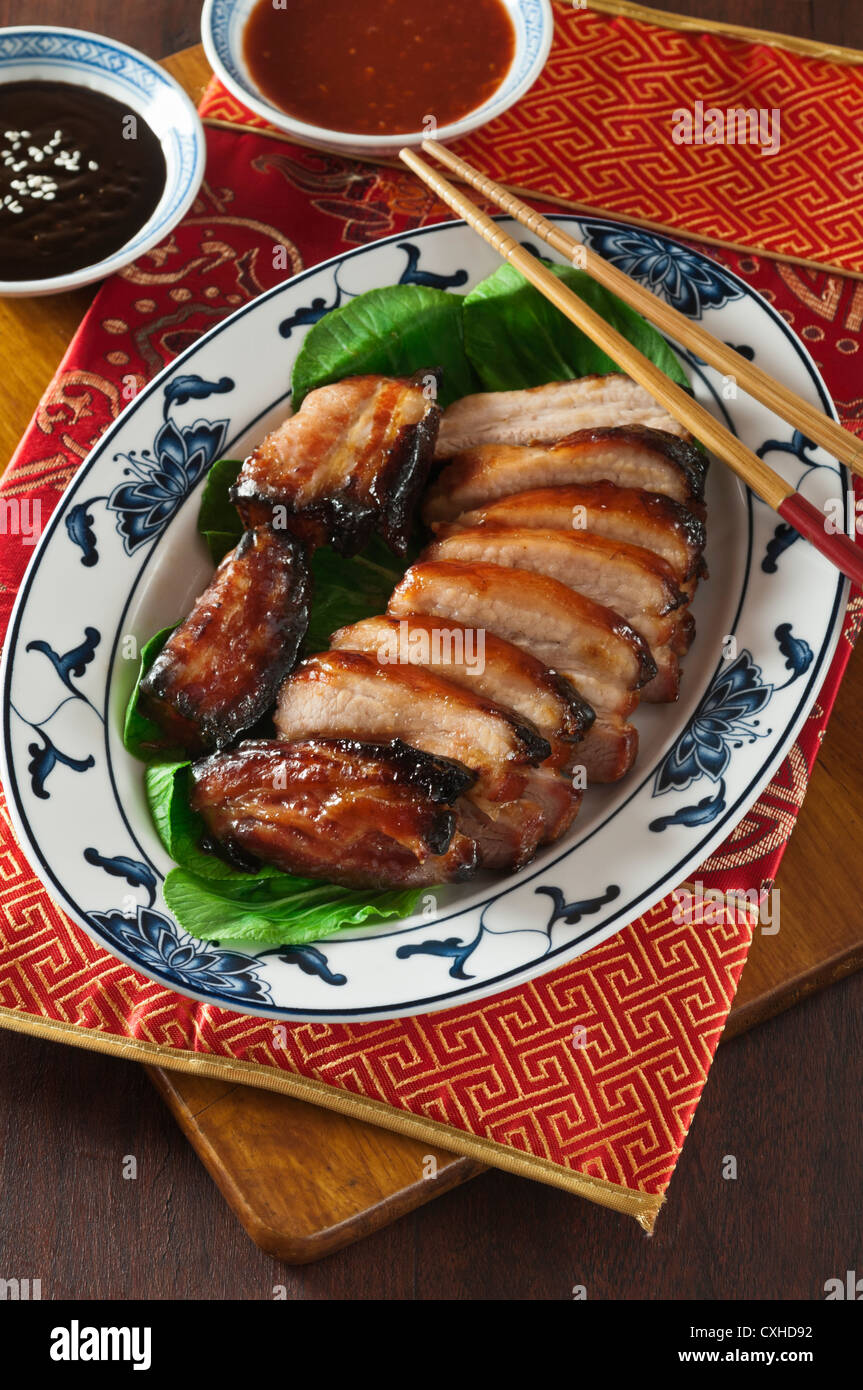 Char siu roast pork Chinese food - Stock Image