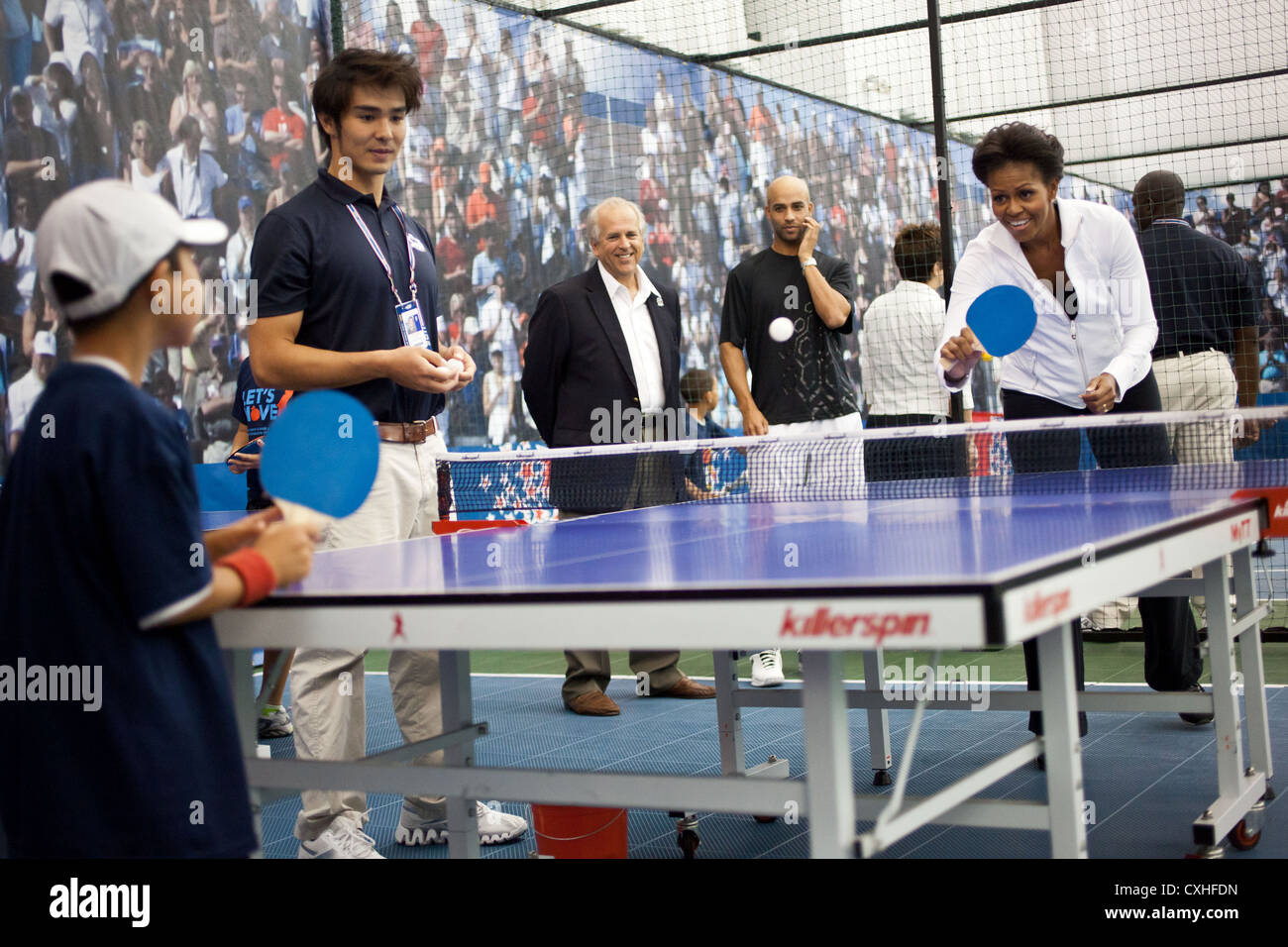 First Lady Michelle Obama plays table tennis during a Let's Move event September , 2011 at the USTA Billie Jean - Stock Image