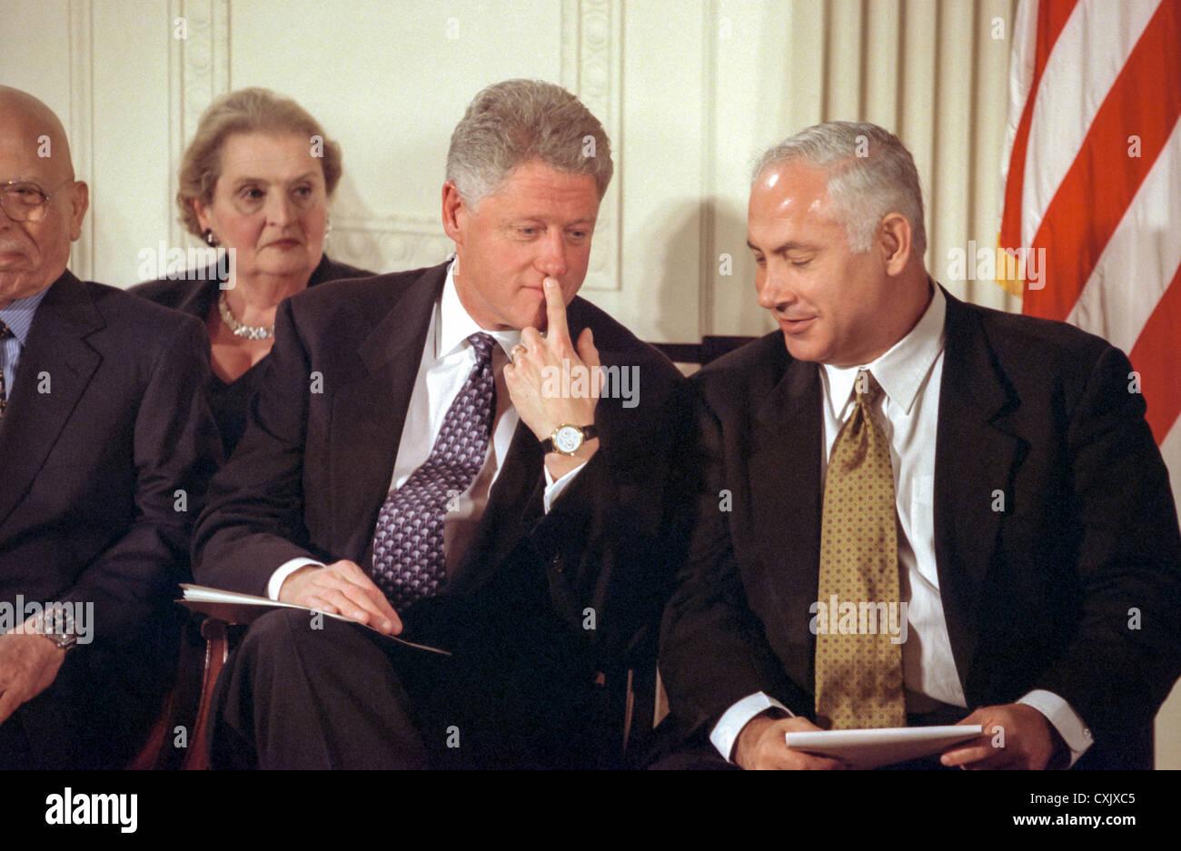 Us President Bill Clinton Speaks With Israel Prime Minister Benjamin