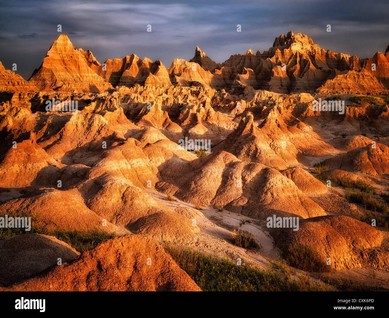 Eroded rock formations in Badlands National Park, South Dakota. - Stock Image