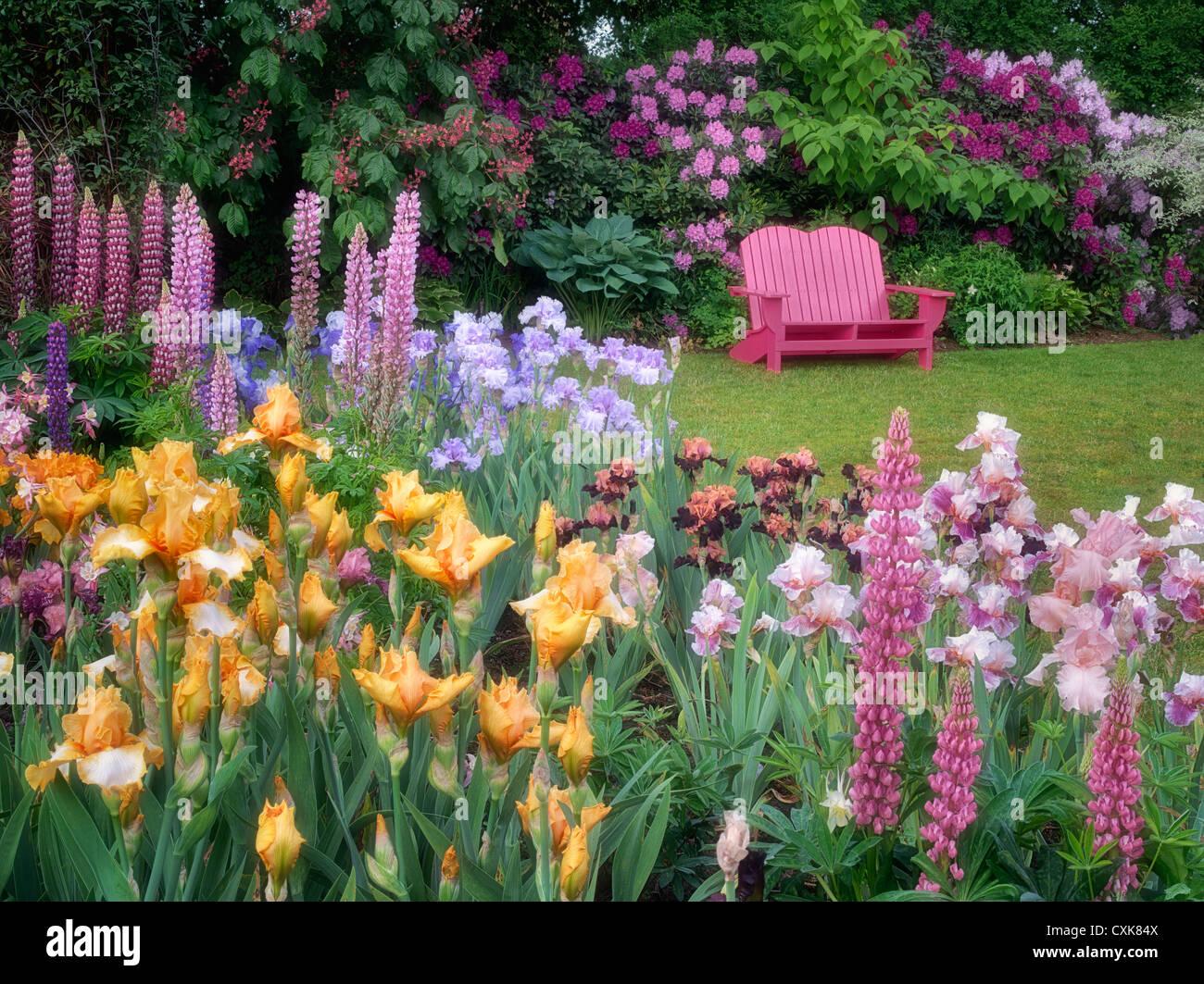 Flower garden stock photos flower garden stock images alamy garden chair and flower garden schrieners iris gardens salem oregon stock izmirmasajfo Gallery