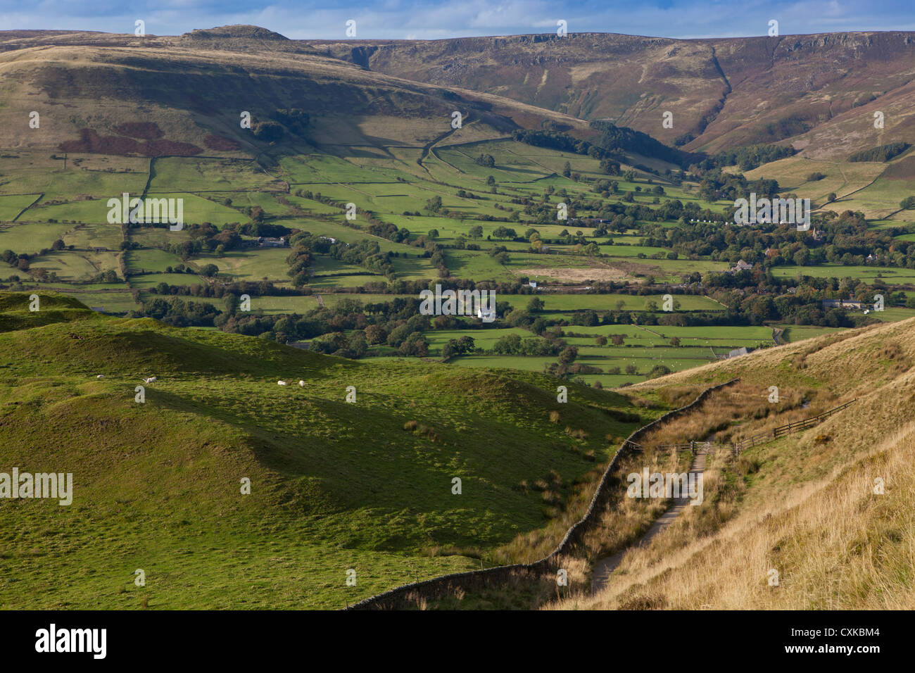 The Vale of Edale; from Mam Tor; with Edale Village nestled below Kinder Scout, Peak District, Derbyshire, England - Stock Image