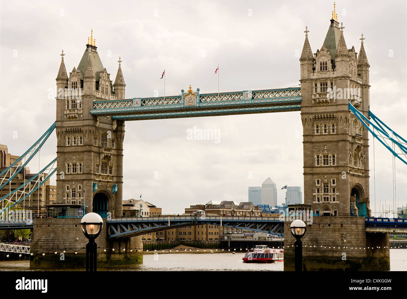 Tower Bridge on a cloudy day - Stock Image