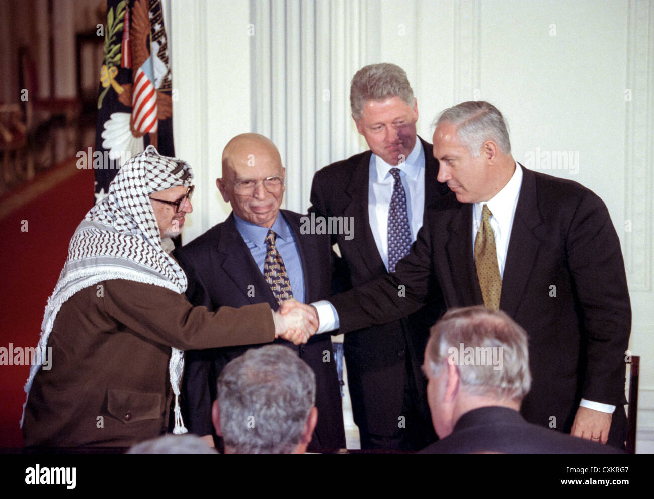 Palestinian Leader Yasser Arafat Shakes Hands With Israel Prime