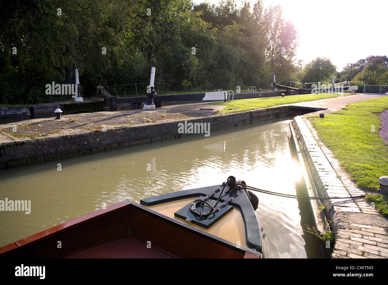 Itchington Bottom Lock no.13 on the Grand Union Canal Warwickshire UK England GB British English inland waterways - Stock Image