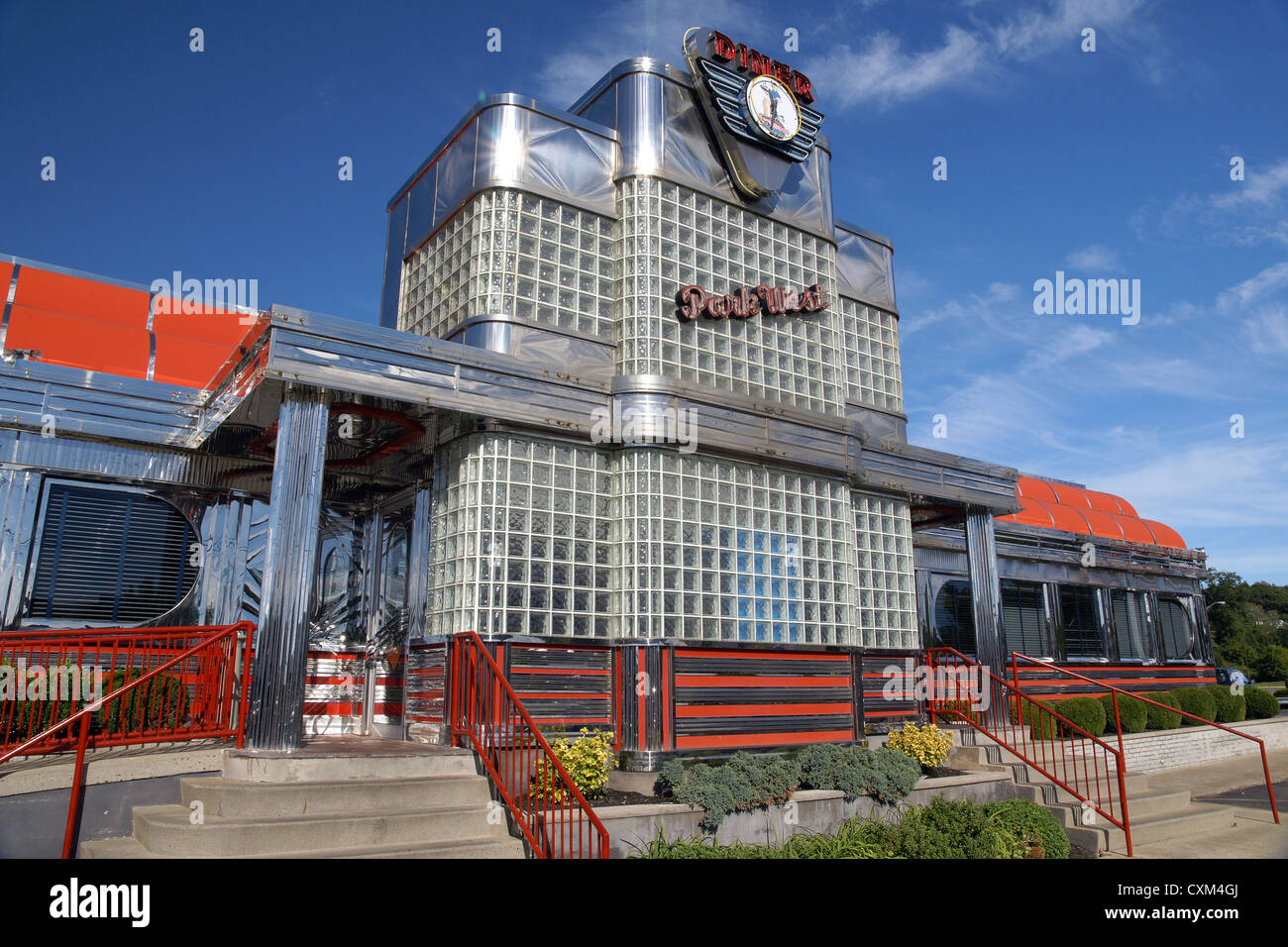 The iconic art deco style Park West diner a well known traditional American restaurant with its polished chrome Stock Photo