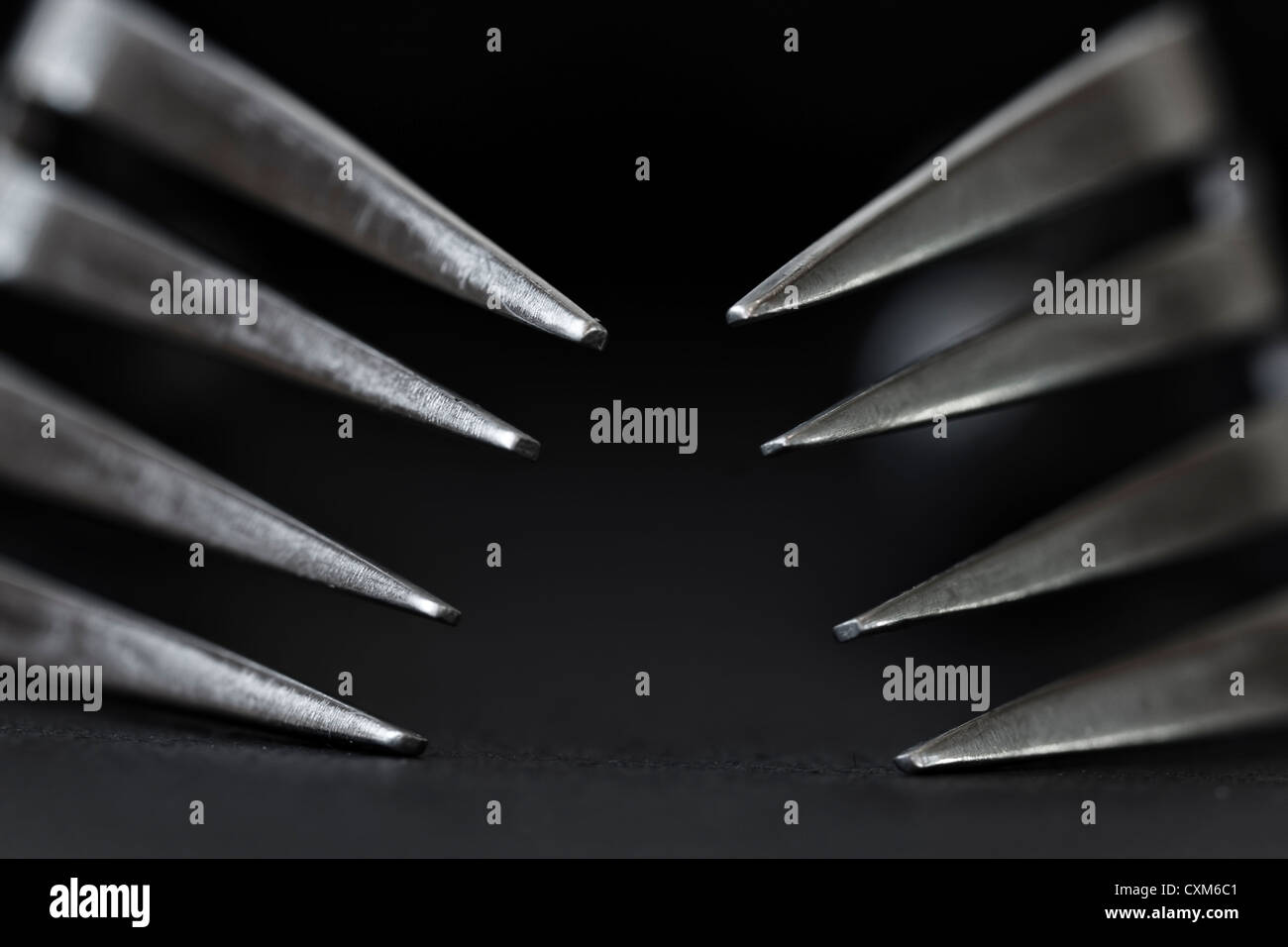 Fork Tines - pointing inward - Stock Image