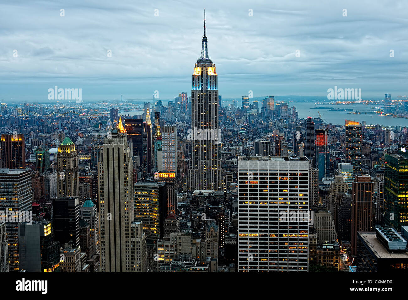 New York City skyline centered on the Empire State Building - Stock Image
