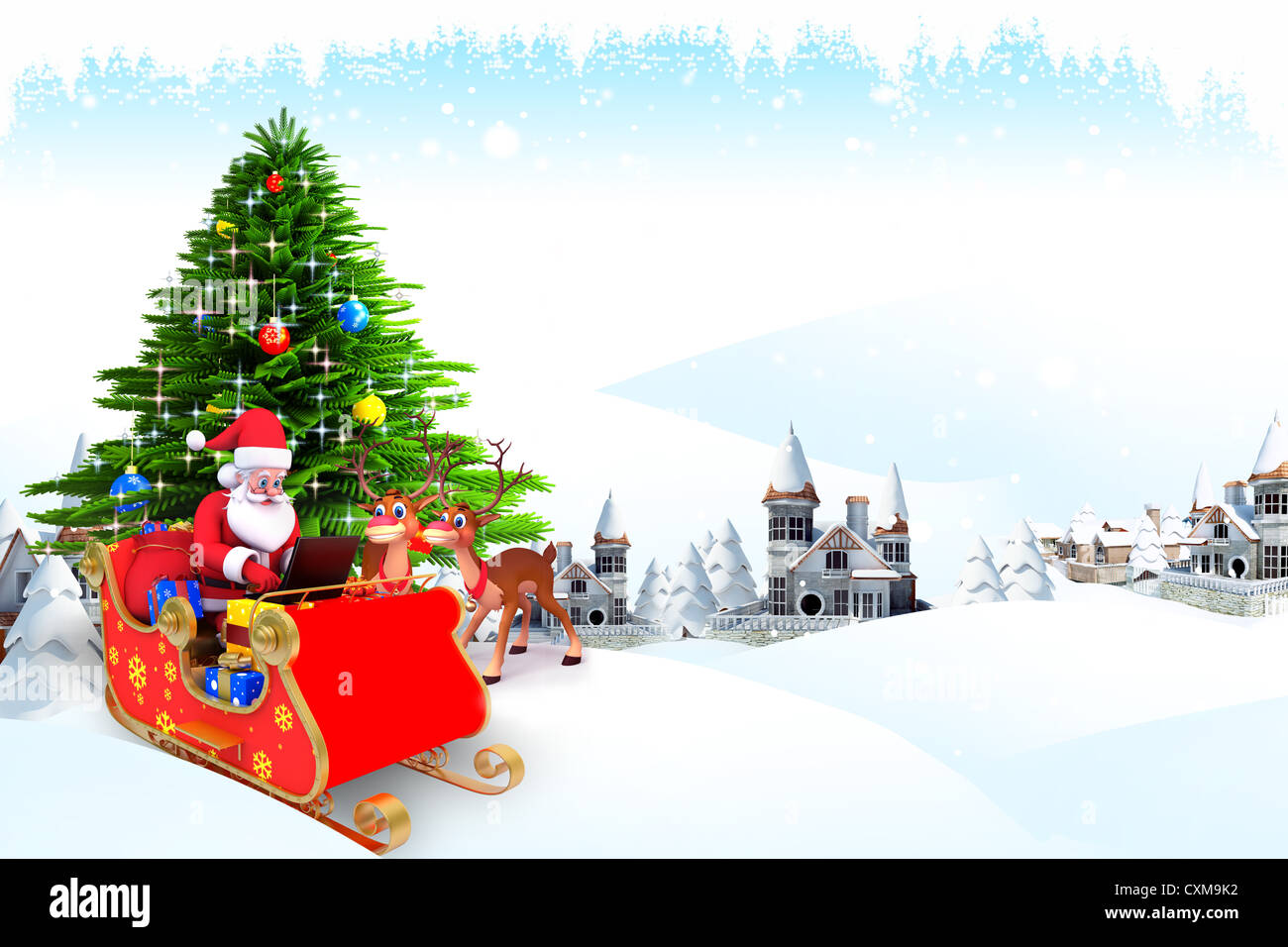 santa claus with christmas tree in iceland Stock Photo: 50848422 - Alamy
