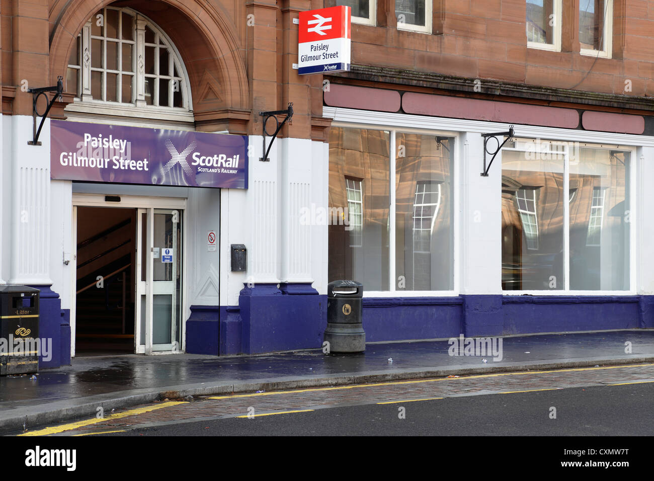 Entrance to and exit from Paisley Gilmour Street Train Station, Old Sneddon Street, Paisley town centre Renfrewshire - Stock Image