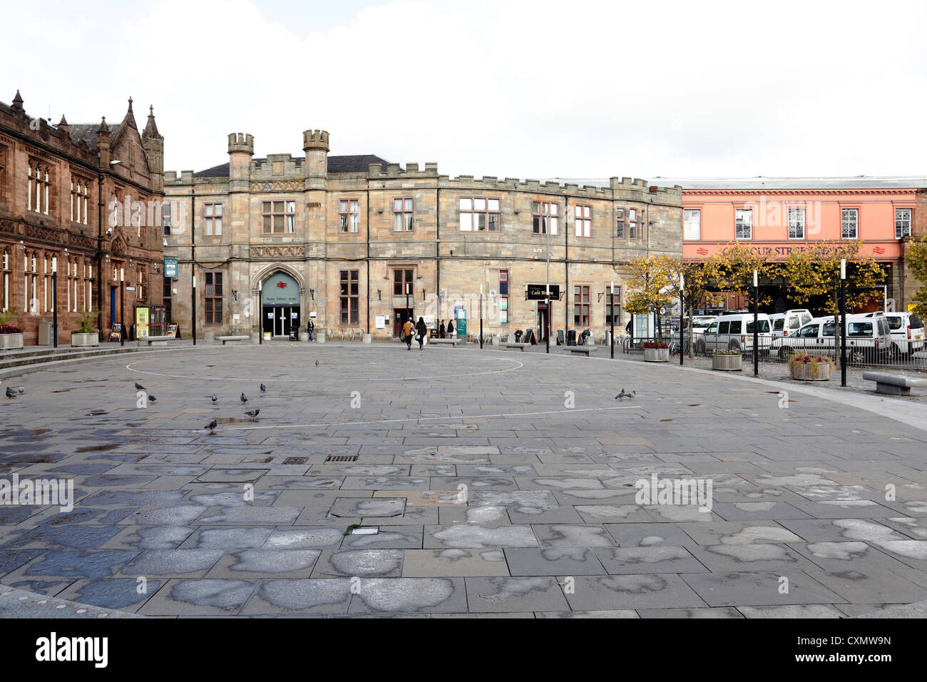 Paisley Gilmour Street Train Station on County Square in Paisley town centre Renfrewshire Scotland UK - Stock Image