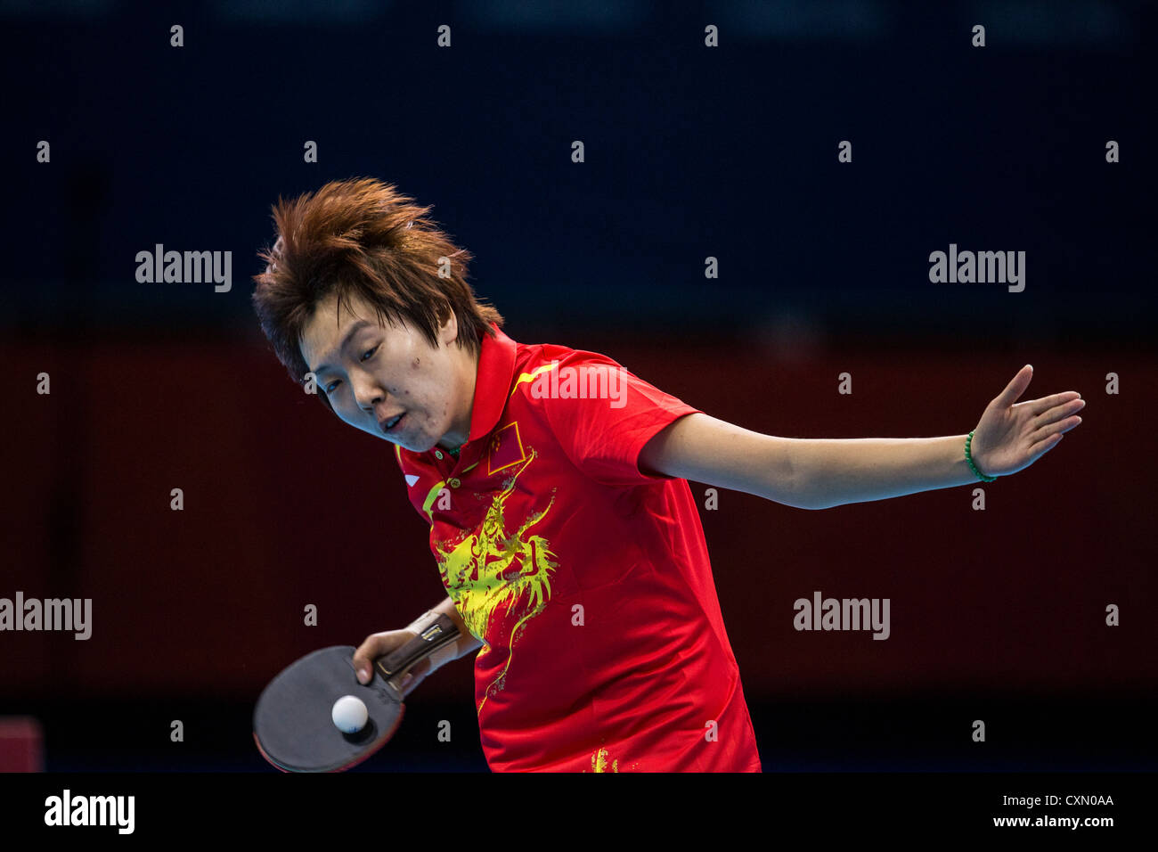 Li Xiaoxia (CHN) wins the women's table tennis gold medal in Olympic Summer Games, London 2012 - Stock Image