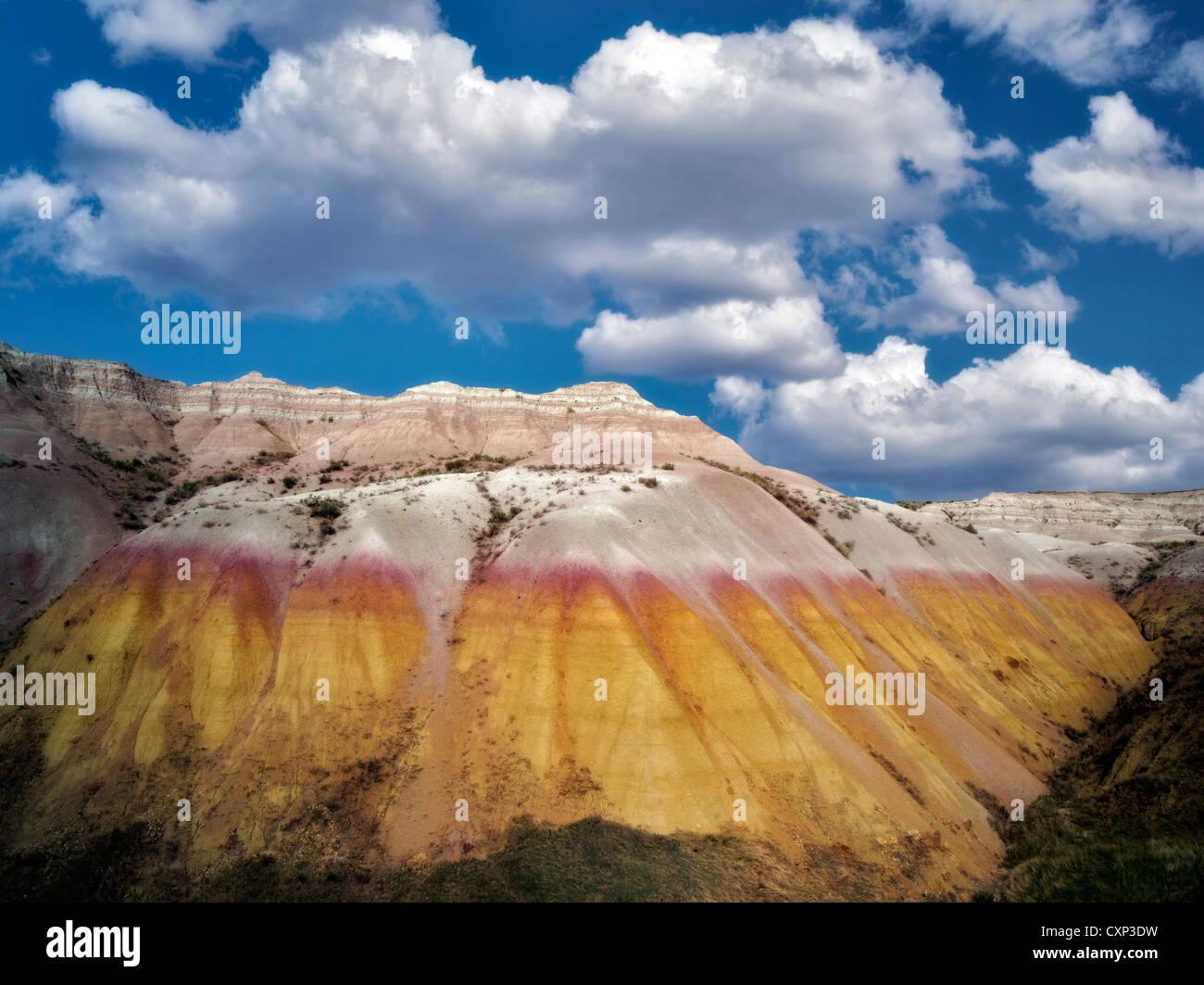 Yellow Mounds with clouds. Badlands National Park, South Dakota. - Stock Image