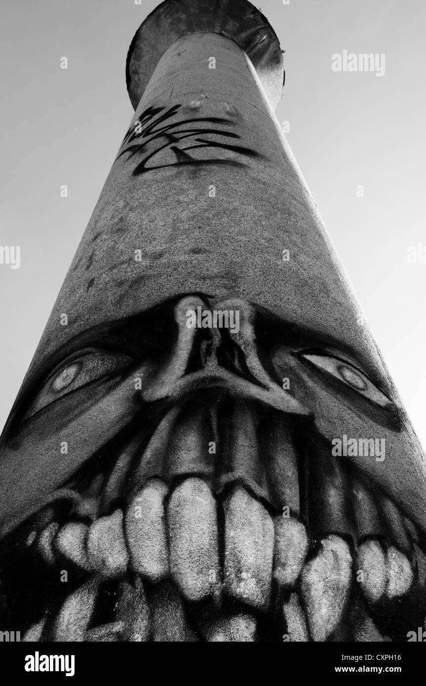 Mural on chimney - Stock Image