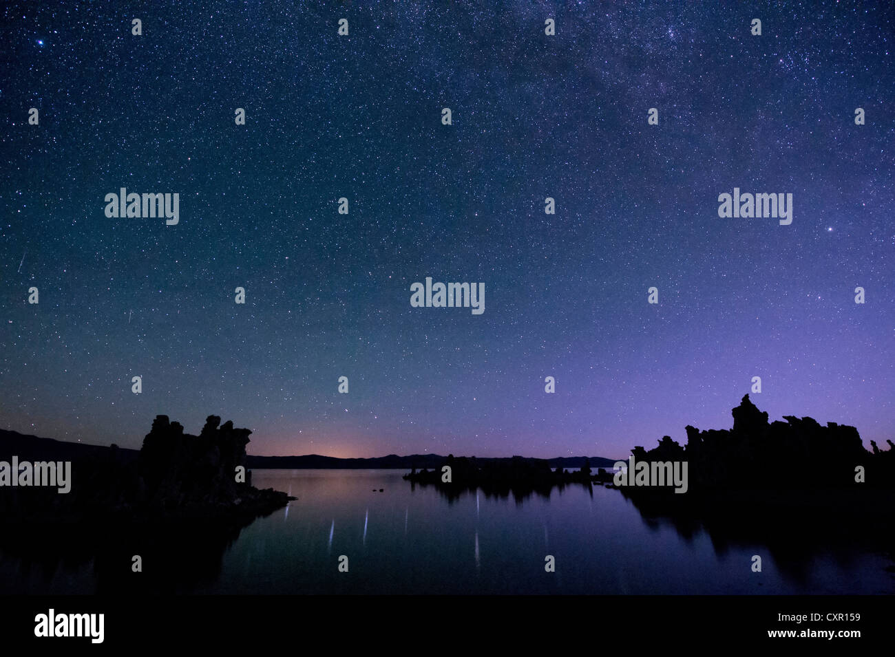 Starry sky at night, mono lake, california, usa - Stock Image