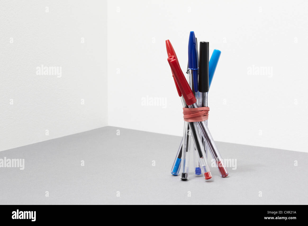 Bundle of pens - Stock Image