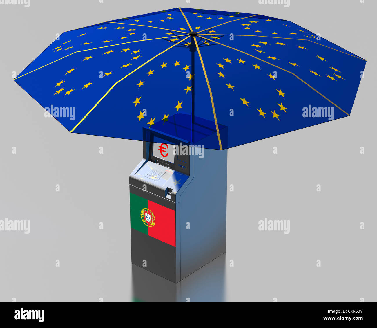 ATM with a Portugese flag under an umbrella with the stars of the EU, symbolic image for the euro rescue package - Stock Image