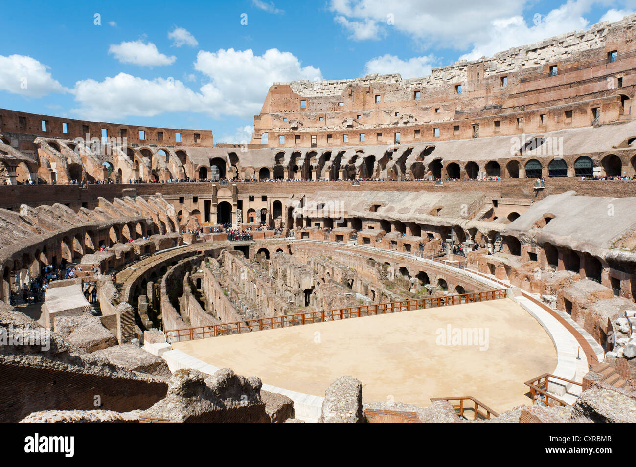 Gigantic ruins, amphitheatre, Colosseum, Colosseo, ancient Rome, Rome, Lazio, Italy, Southern Europe, Europe - Stock Image