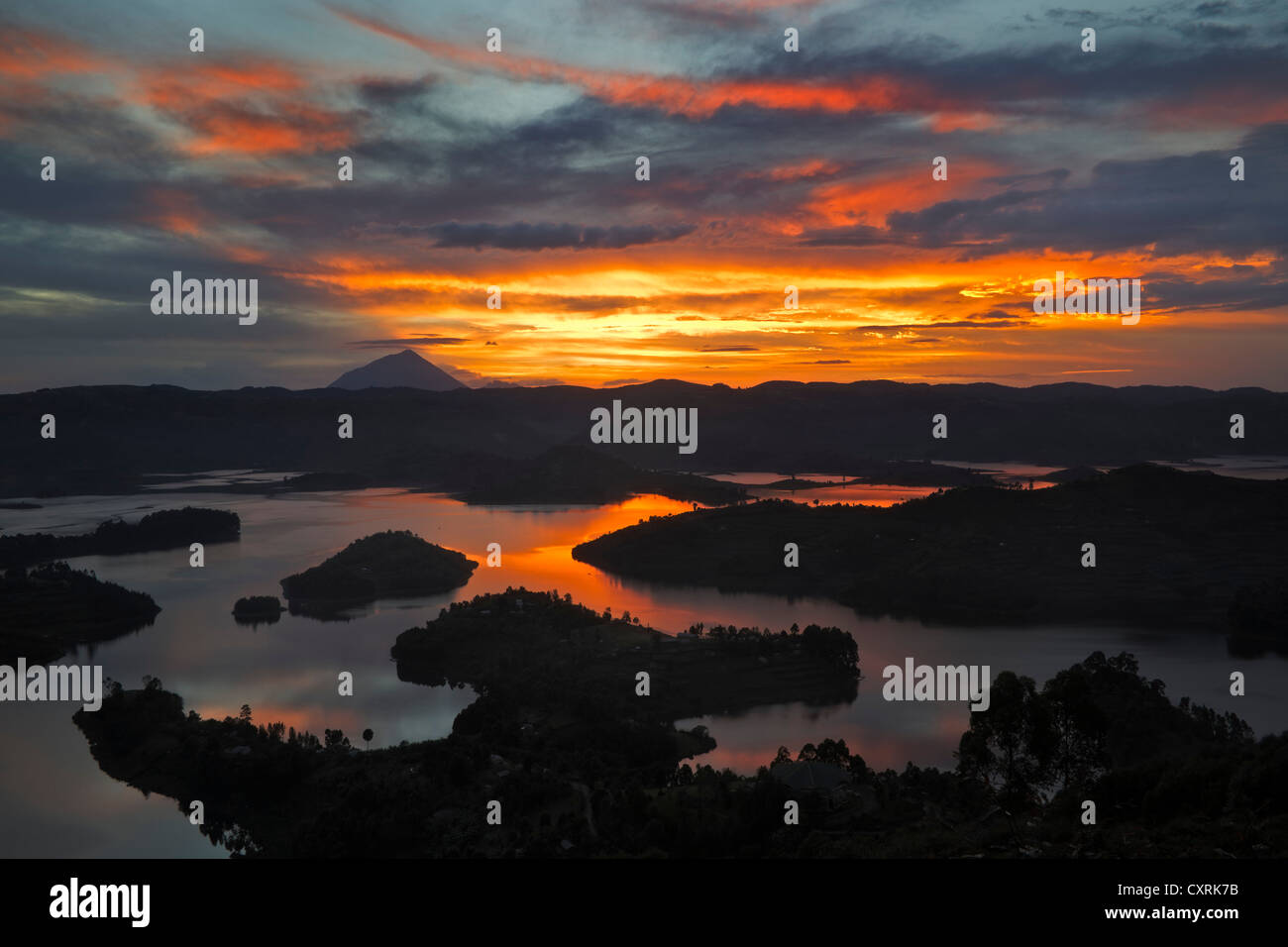 Lake Bunyonyi at sunset, Uganda, Africa - Stock Image
