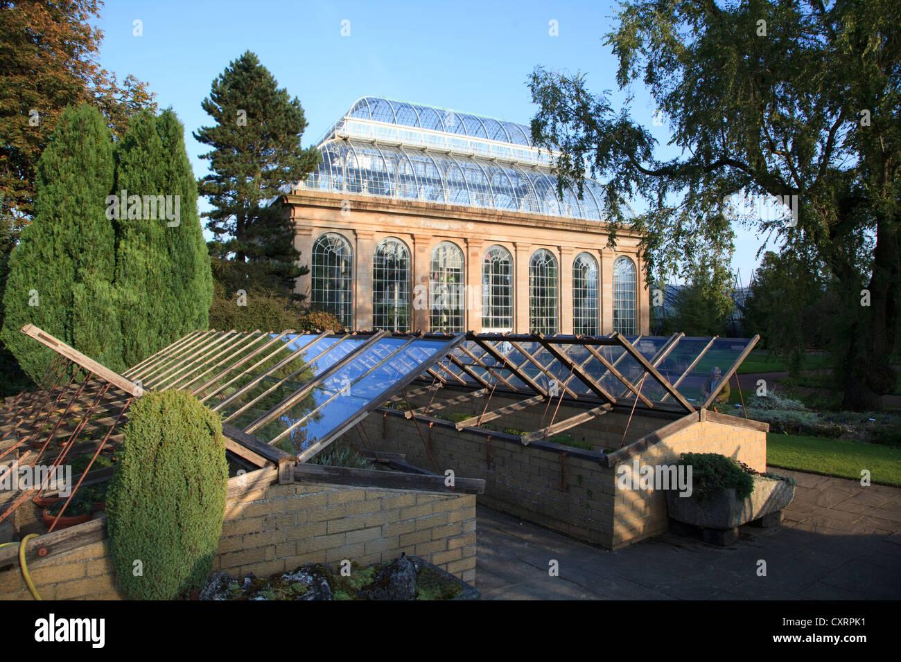 Glasshouses at Edinburgh Botanic Gardens Stock Photo