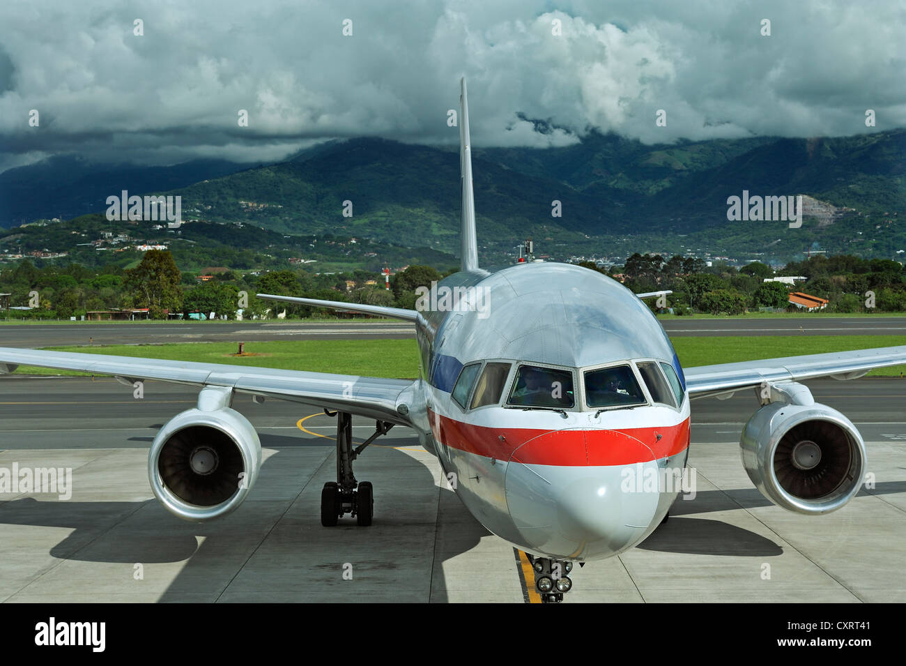 Jet of American Airlines, San José Airport, Costa Rica, Central America - Stock Image