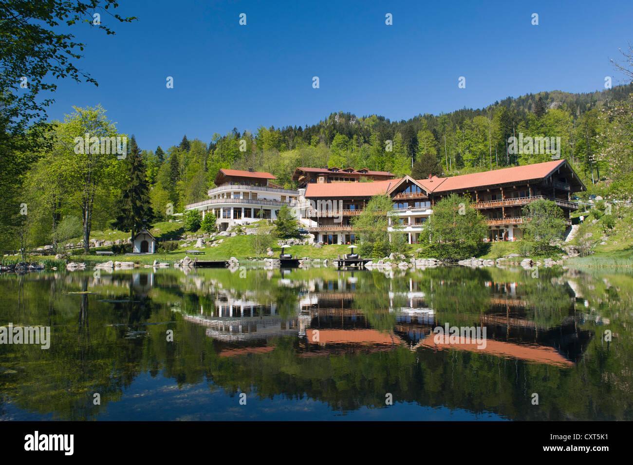 Hotel restaurant at Tatzelwurm lake, Bavarian Alps, Upper Bavaria, Bavaria, Germany, Europe - Stock Image
