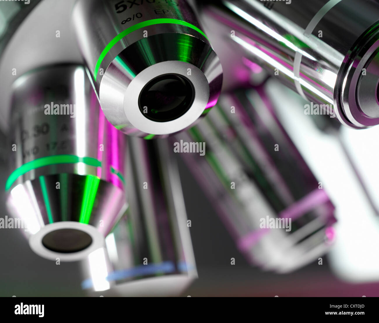 Close up of microscope lenses in lab - Stock Image
