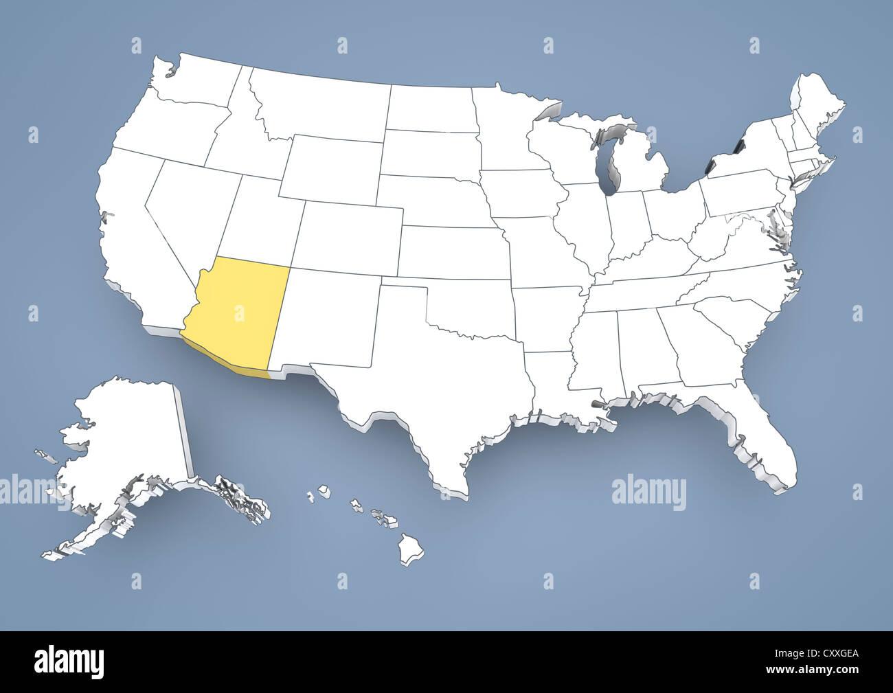 Arizona, AZ, highlighted on a contour map of USA, United States of ...