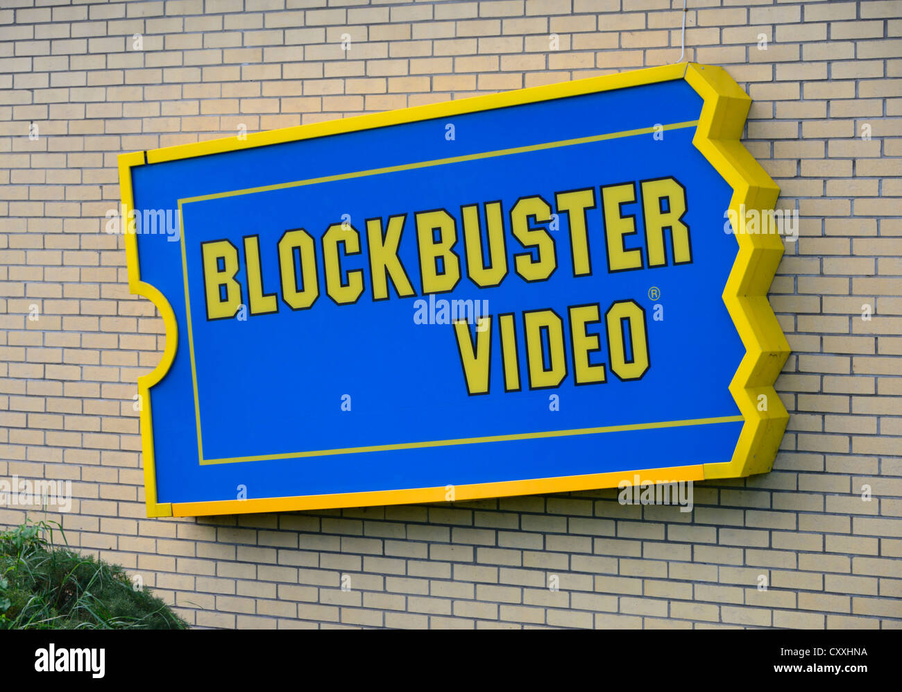 Blockbuster Video sign. Central Drive, Morecambe, Lancashire, England, United Kingdom, Europe. Stock Photo