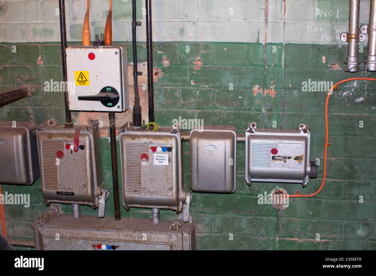 Old Electrical Switches and Fuse Boxes - Stock Image