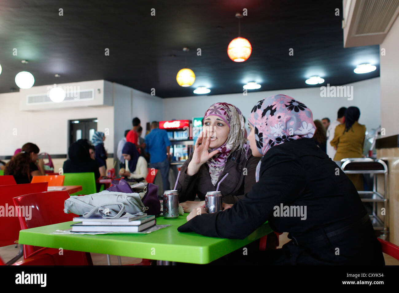 Palestinian students in the cafeteria of Al Quds university in Abu Dis a Palestinian town in the Jerusalem Governorate - Stock Image