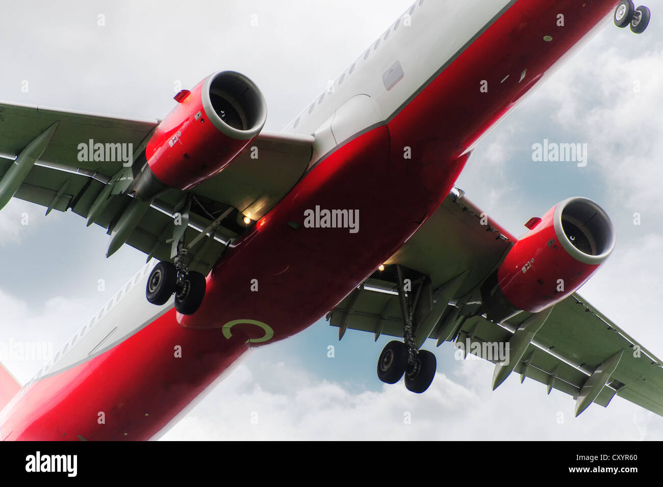 Detail view of a passenger jet, flyover, Duesseldorf, North Rhine-Westphalia - Stock Image