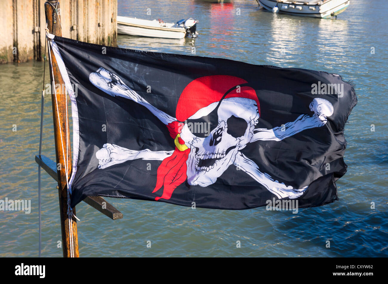 Jolly Roger flag, UK - Stock Image