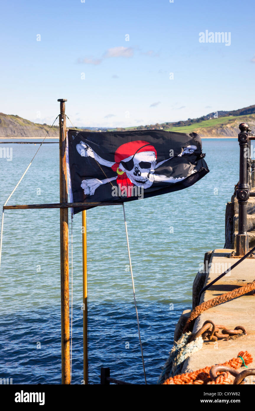 Pirate flag - Jolly Roger flag, UK - Stock Image