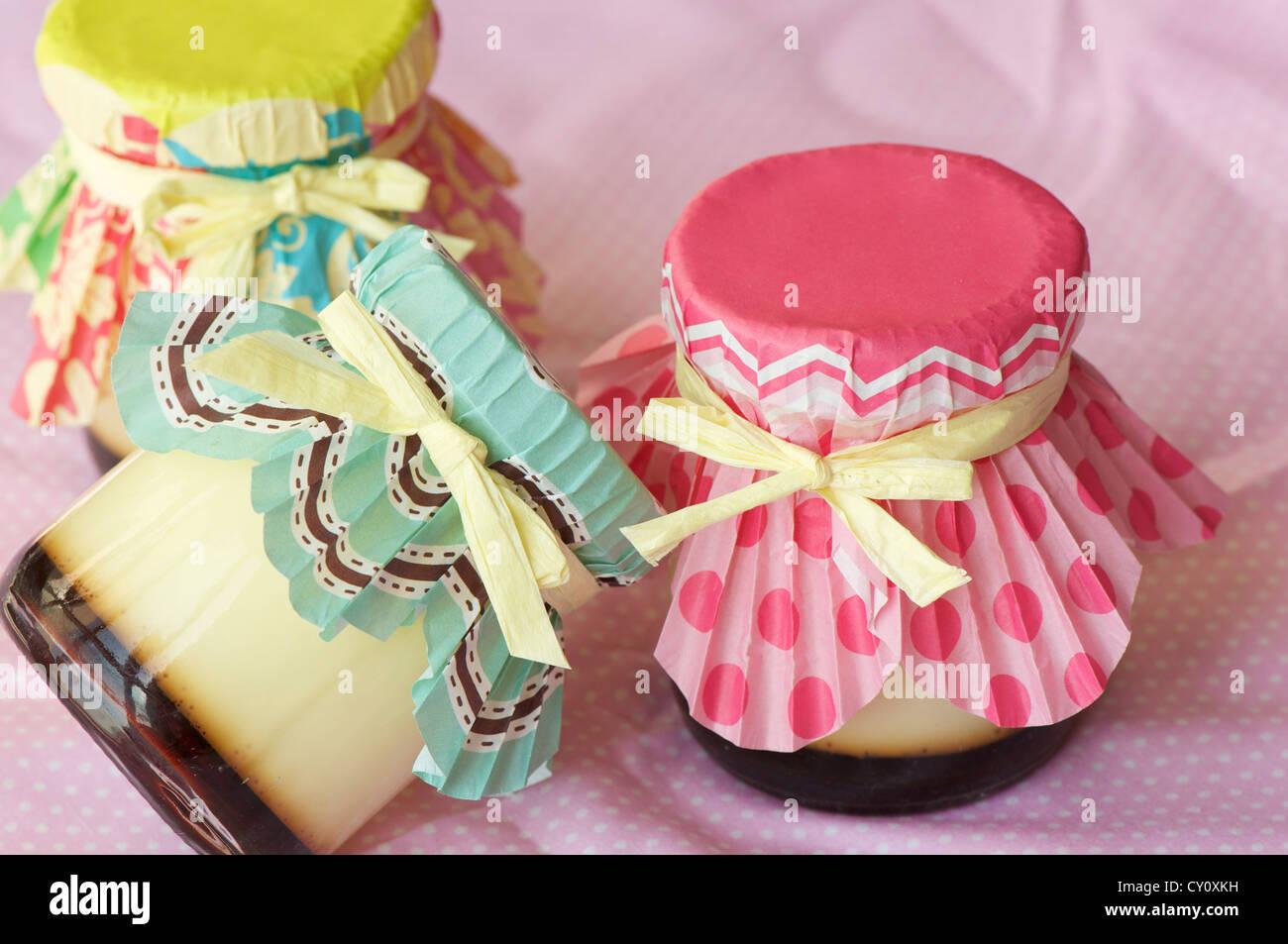 homemade cream caramel shot on pink napkin in macro lens Stock Photo ...