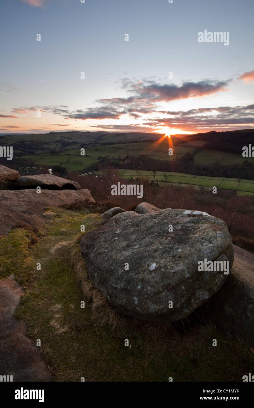 Sunset from Froggatt Edge, Peak District, Derbyshire - Stock Image