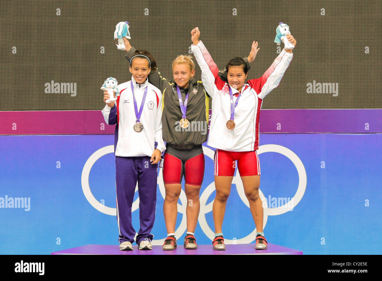 2010 Singapore Youth Olympic Games Women's 53kg Weightlifting - Stock Image