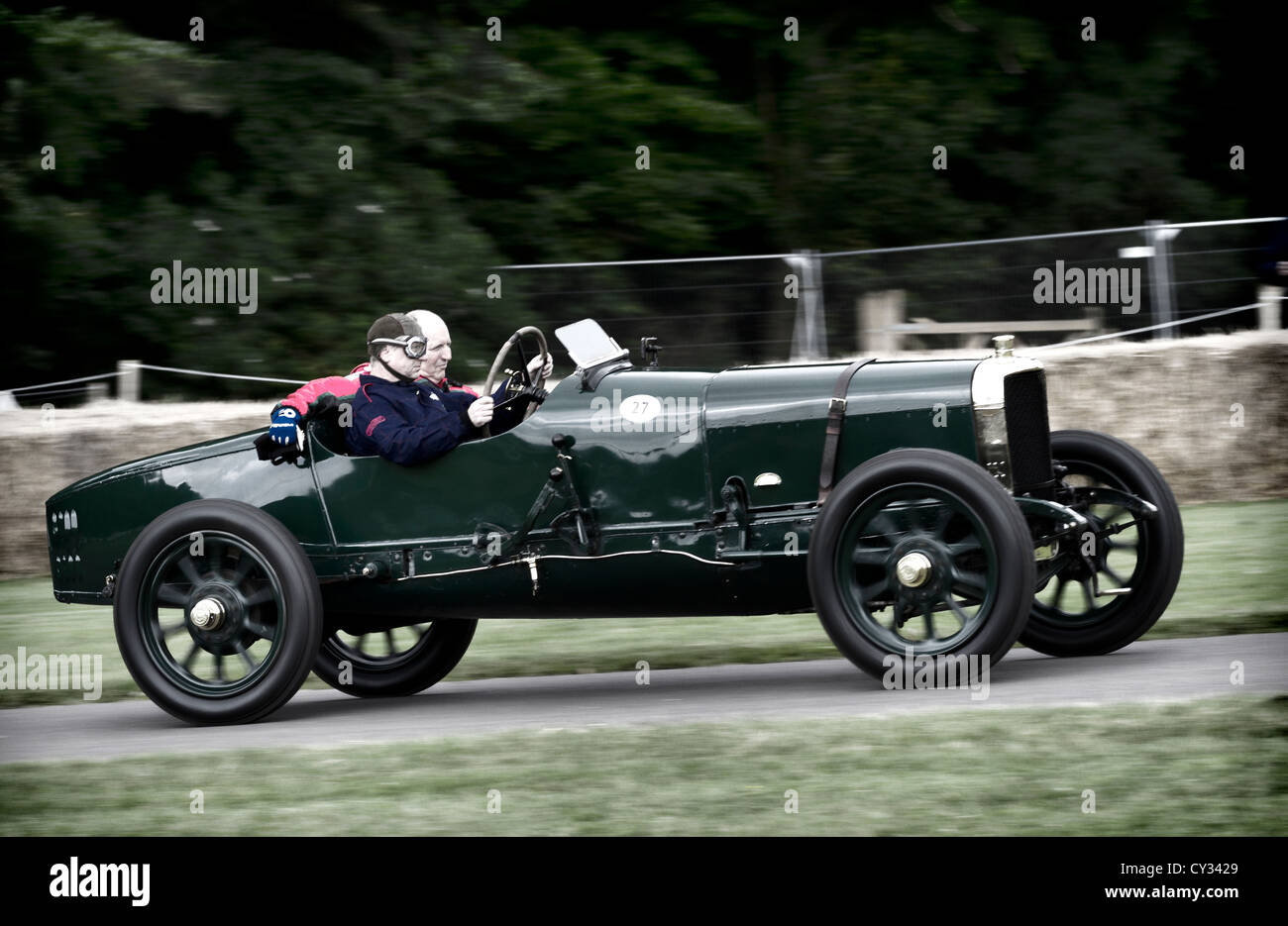 1912 Sunbeam Coupe De L'Auto with driver Doug Hill at the 2012 Goodwood Festival of Speed, Sussex, UK. Stock Photo