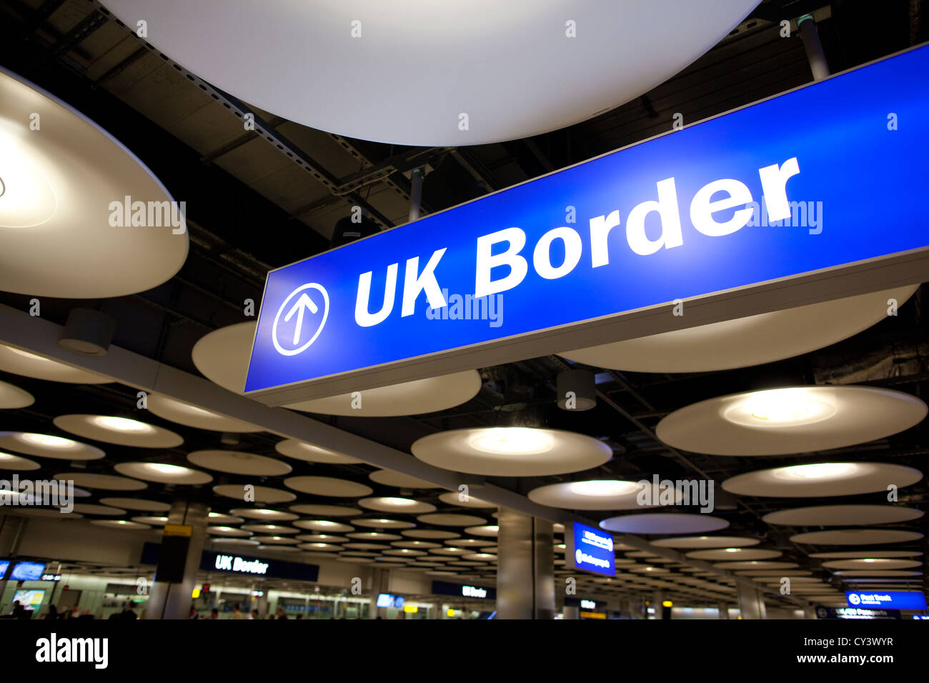 UK Border Passport Control Terminal 5 Heathrow Airport, England, United KIngdom, UK - Stock Image