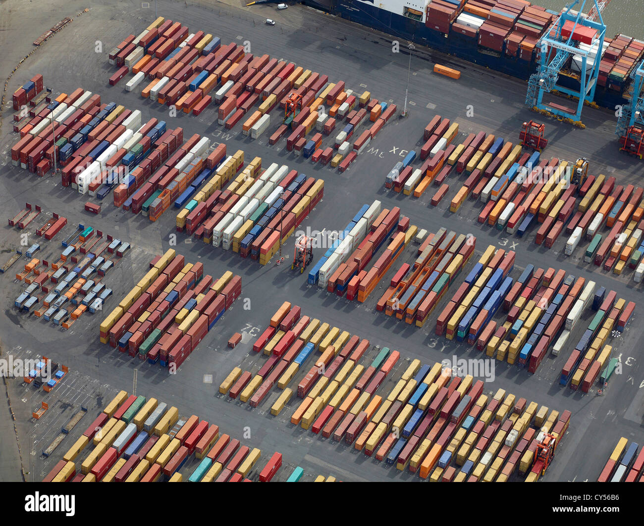 Containers on Liverpool Docks, Port of Liverpool, Merseyside, North West England, UK - Stock Image
